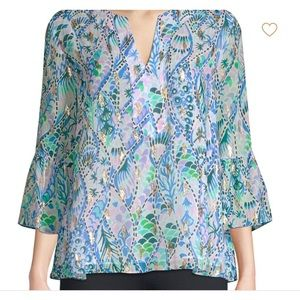 Lilly Pulitzer Eleanor Silk Printed Top